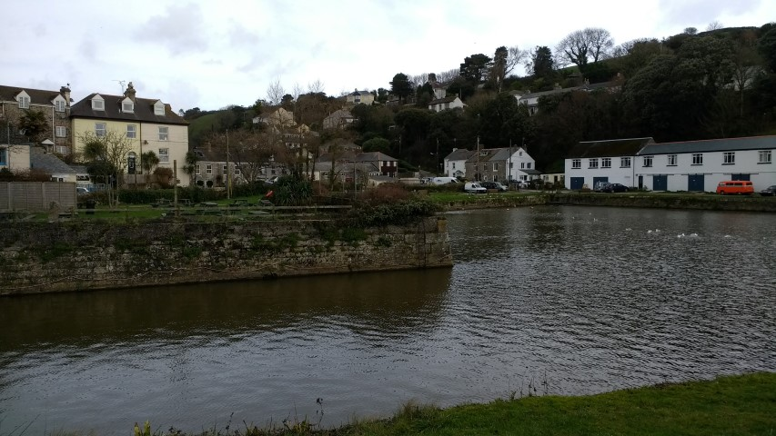 Pentewan Hill from across the harbour.