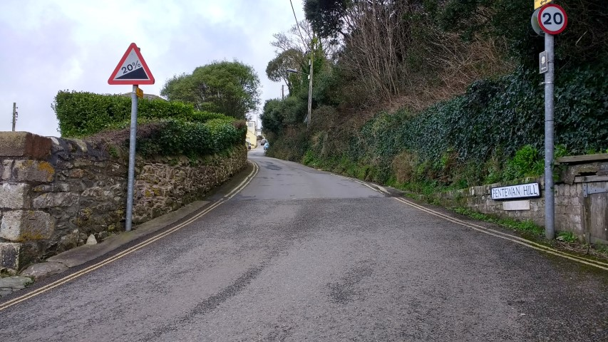 The start of Pentewan Hill. The sign says 20% and its not short either.