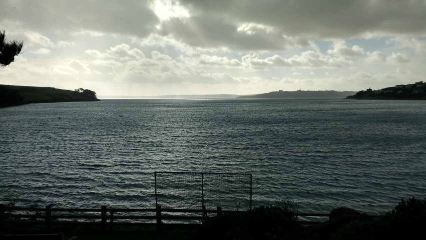 Fast moving showers over St Mawes bay.