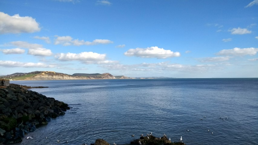 Looking towards the Purbeck Hills from Lyme Regis.