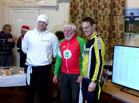 The NFCC 2015 Boxing Day TT winner Matt Burden pictured alongside Xavier Dishley (2nd) and Roger Bacon