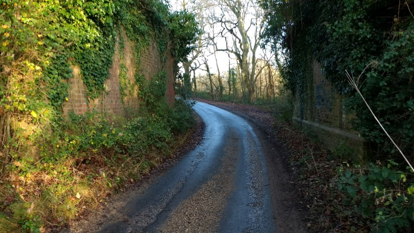 The two supports are all that is left of the old railway bridge on what becomes the Castleman Way nearer Ringwood
