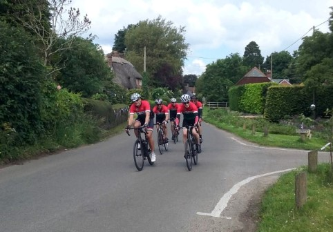 The NFCC Saturday group rides through Rockbourne on their way back to the New Forest after a trip to Broad Chalke