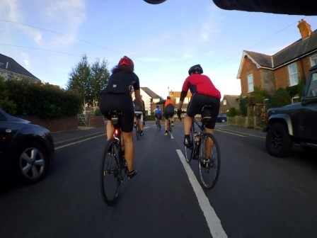 Riding with the Mangless Cycling Group out of New Milton on a warm summer evening