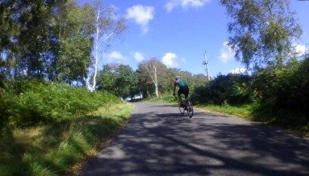 Returning to climb braggers lane with Phil Grant at the end of a long ride out of the forest
