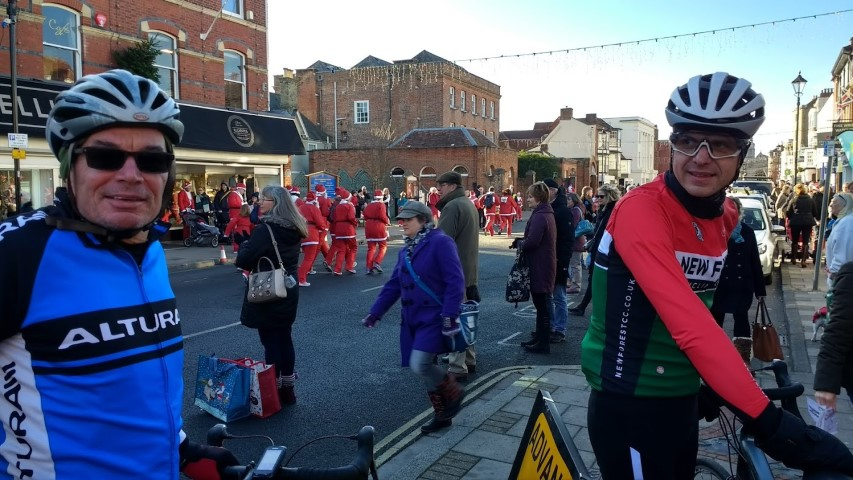 Whilst out cycling Graham Phil and I found a santa race in Lymington